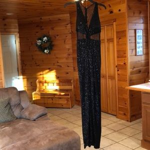 Lacey Black Sequence Prom Dress with middle slit